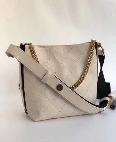 2556c3ea2458 Importados 4 Ladies - Chanel Hobo Handbag Calfskin Grosgrain White